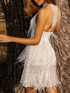 Women's high collar and backless silver sequins and tassels evening dress