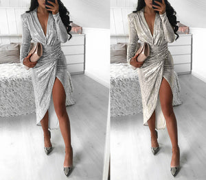 New V-Neck long sleeve glittering dinner sexy hip wrap dress