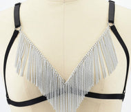 Women's tassel chest chain strap bra