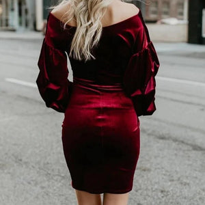 Sexy Deep V Pleated Tight Solid Color Dress