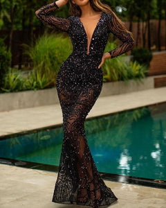Sexy Deep V-Neck Slim Sequined Long Sleeve Evening Dress