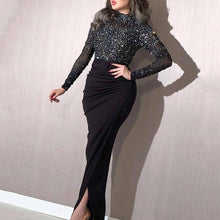 Load image into Gallery viewer, Long Sleeve Sequin Wrap Evening Dress
