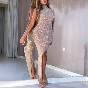 Sexy Fashion One Shoulder Side Slit Evening Dress