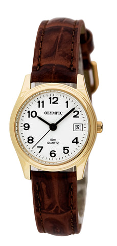 OLYMPIC LADIES LEATHER - GOLD - BROWN 83032