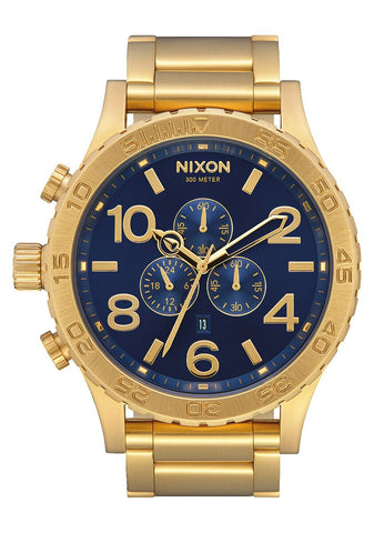 Nixon 51-30 Chrono Gold Blue Sunray Watch - A083 3334-00