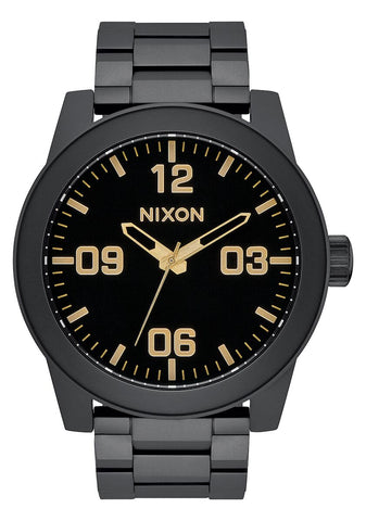 Nixon Corporal Stainless Steel Matte Black Gold Watch - A346 1041-00