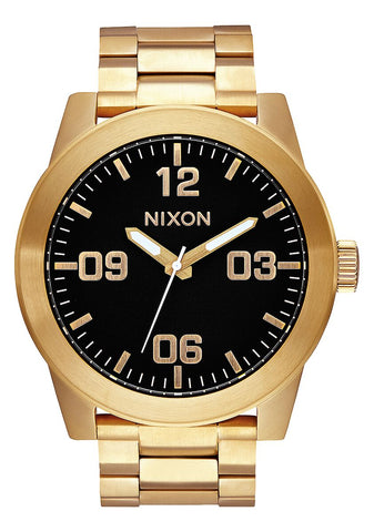 Nixon Corporal Stainless Steel Gold Black Watch - A346 510-00