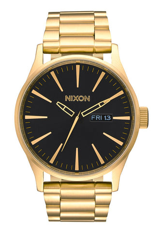 Nixon Sentry Stainless Steel Gold Black Watch - A356 510-00