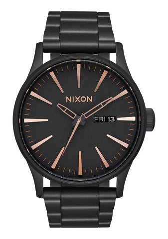 Nixon Sentry Stainless Steel Black Rose Gold Watch - A356 957-00