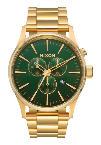 Nixon Sentry Chrono Gold Green Sunray Watch - A386 2691-00