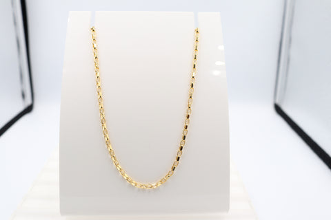 9ct Gold Oval Diamond Cut Beclcher Chain 50cms