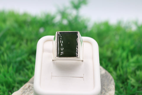 Stg Silver Heavy Mens Ring with New Zealand Greenstone