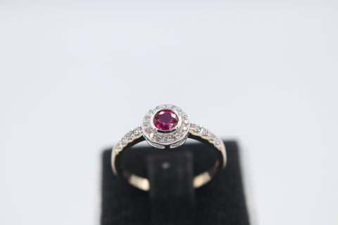 9ct Gold Genuine Ruby & Diamond ring