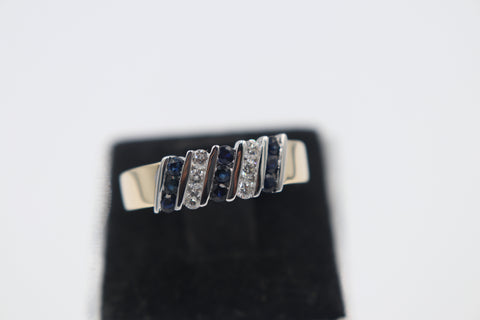 9ct Gold Genuine Sapphire & Diamond ring