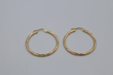 9ct Gold Round Twist Hoop Earrings 20mm