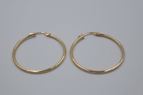 9ct Gold Plain Hoop Earrings 30mm