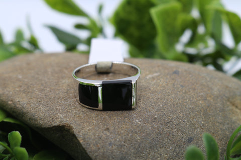 Stg Silver Heavy Mens Ring with Onyx