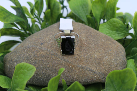Stg Silver Heavy Mens Ring with Onyx and Fern