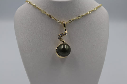 18ct Gold Plated Faux Pearl Pendent