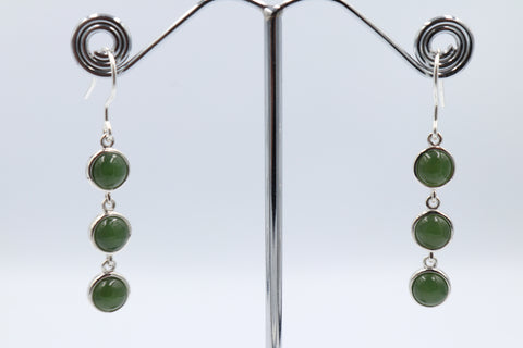 Stg Silver Set Greestone Drop Earrings