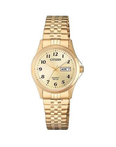Citizen Ladies gold Tone 50m WR EQ2002-91P Expanding Strap
