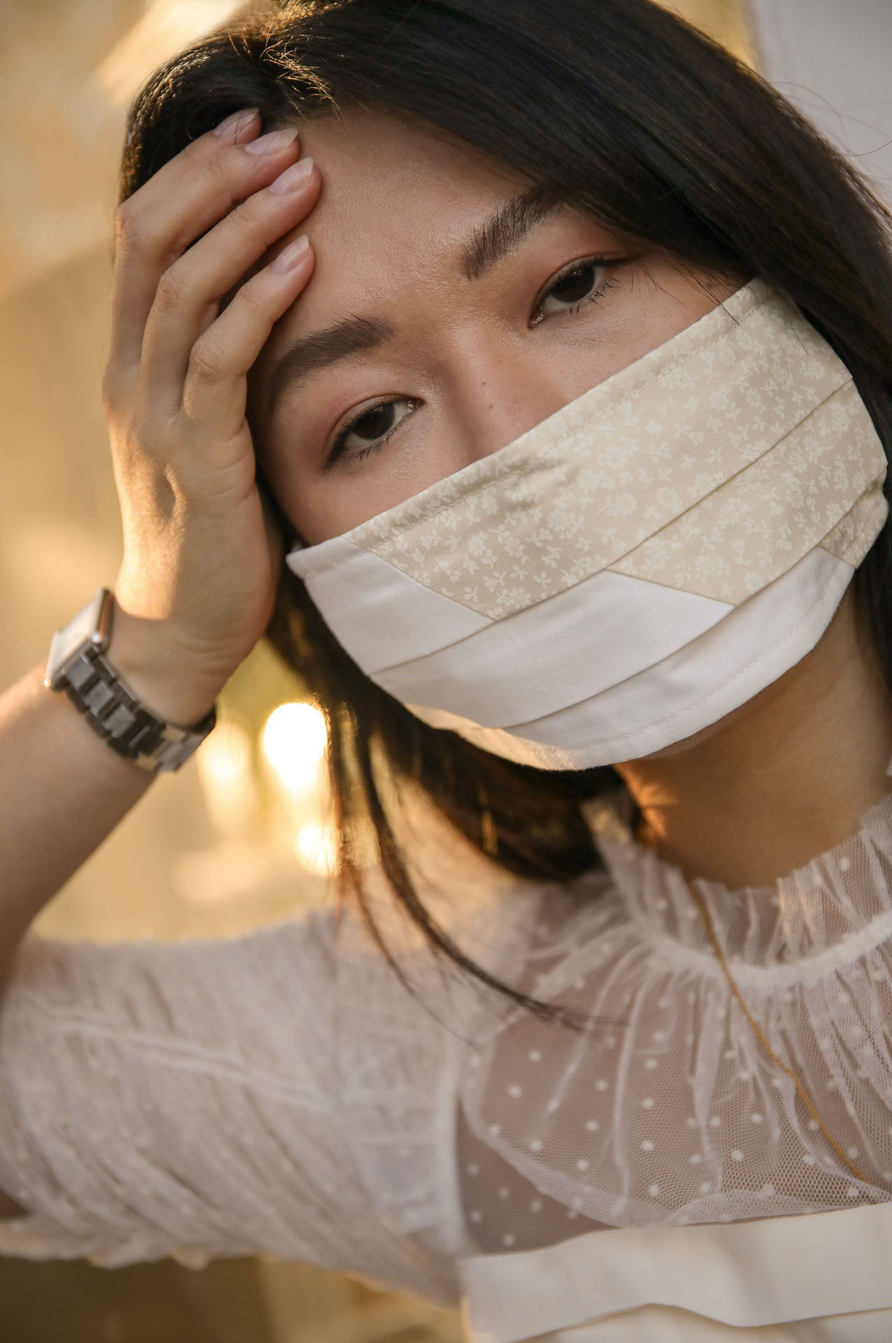 Adjustable face mask in Ditsy Beige