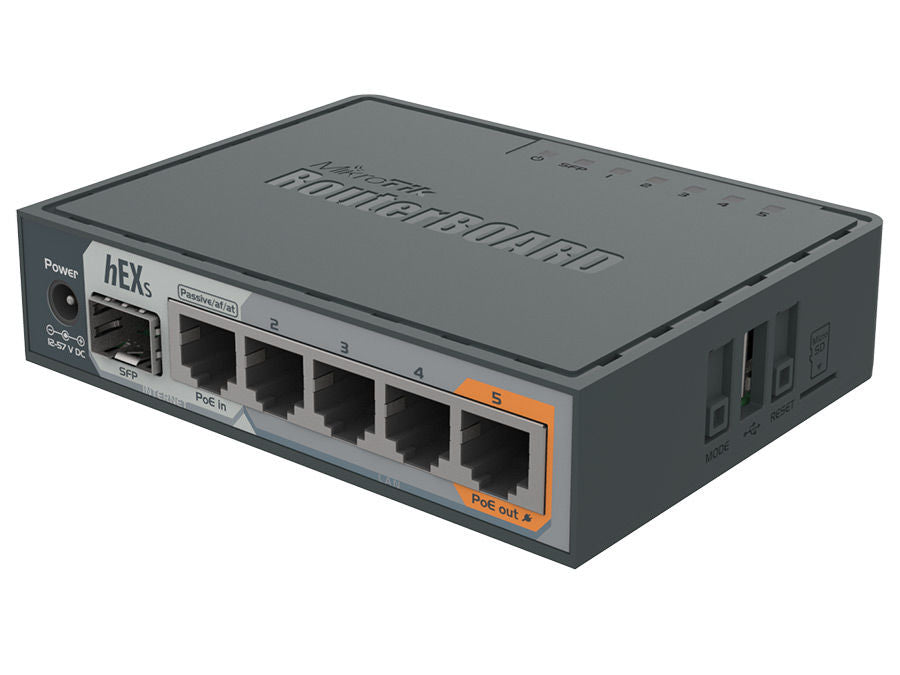 MikroTik hEX S 5 Port Gigabit 1SFP Desktop Router| RB760iGS