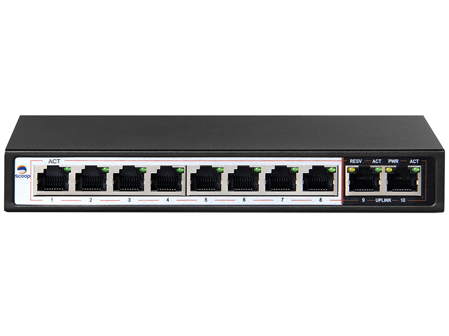 Scoop 10 Port Fast Ethernet Switch with 8 AI PoE Ports and 2 FE Uplink