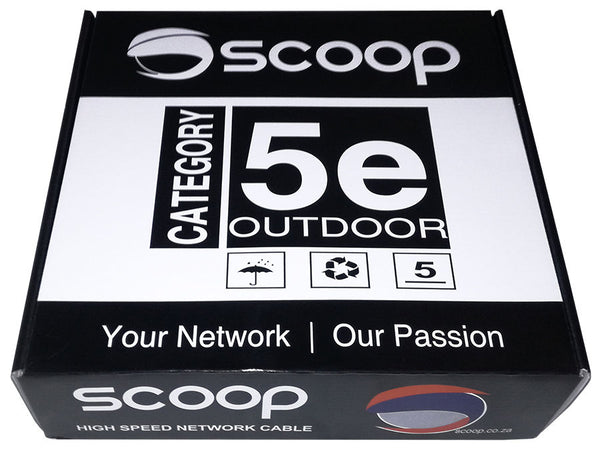 Scoop 100m Box Cat5e Outdoor FTP CCA Cable