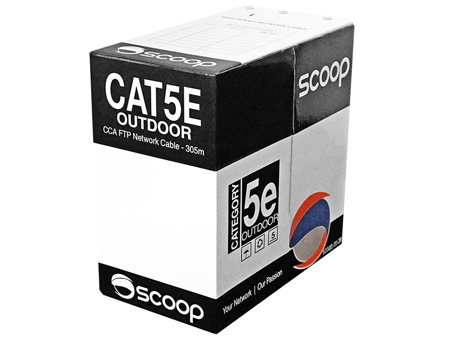 Scoop 305m Box Cat5e Outdoor FTP CCA Cable