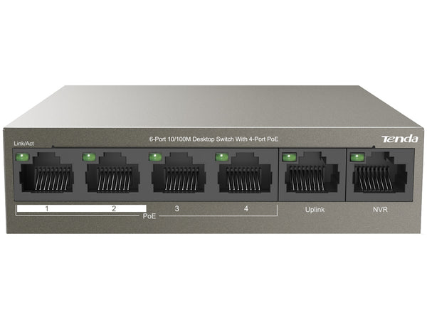 Tenda 6 Port with 4 Port PoE 58W Desktop Switch | TEF1106P-4-63