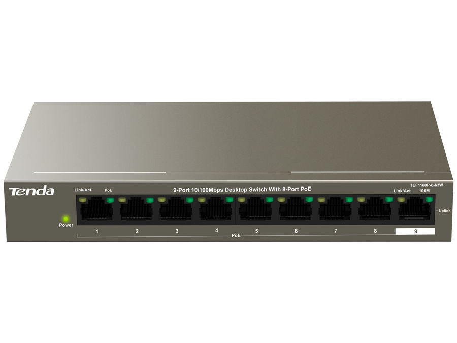 Tenda 9 Port with 8 Port PoE 58W Desktop Switch | TEF1109P-8-63W
