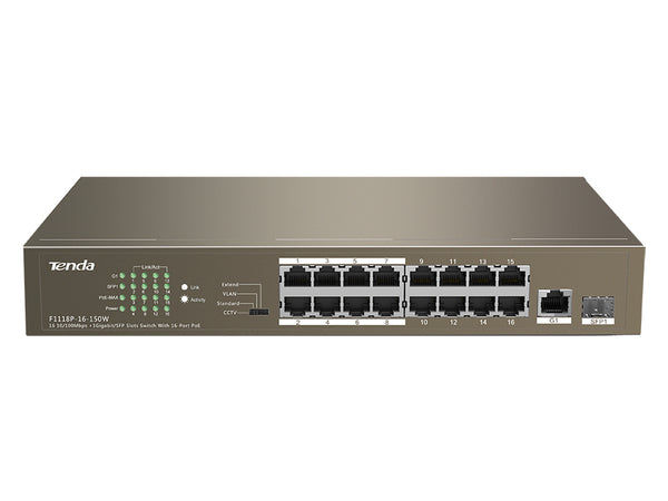 Tenda 18 Port with 16 PoE 135W 1 SFP/Gigabit Combo Switch | TEF1118P-16-150W