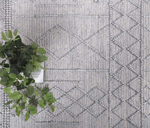 Kaiden Tribal Grey Wool Rug