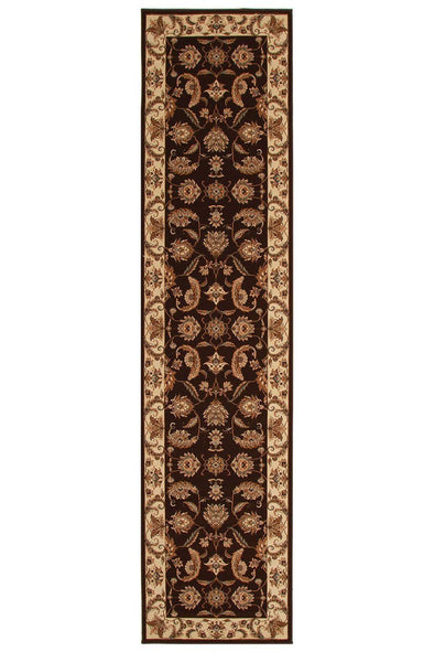 Empire Stunning Formal Floral Design Runner Rug Brown