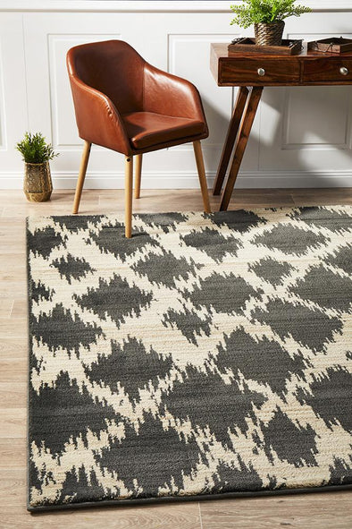 Moroccon Style  Diamond Design Charcoal Rug