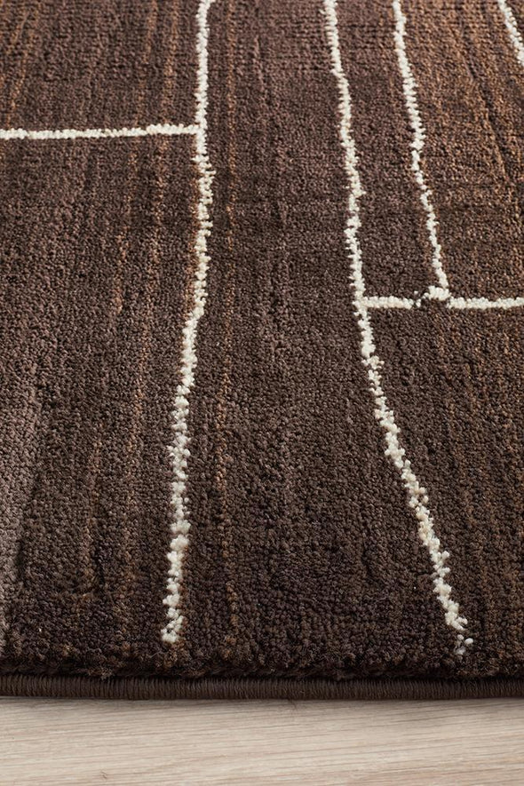 Moroccon Style  Paved Design Chocolate Rug