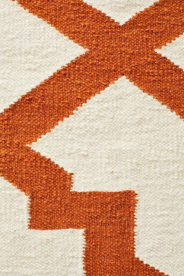 Nomad Pure Wool Flatweave 17 Orange Rug