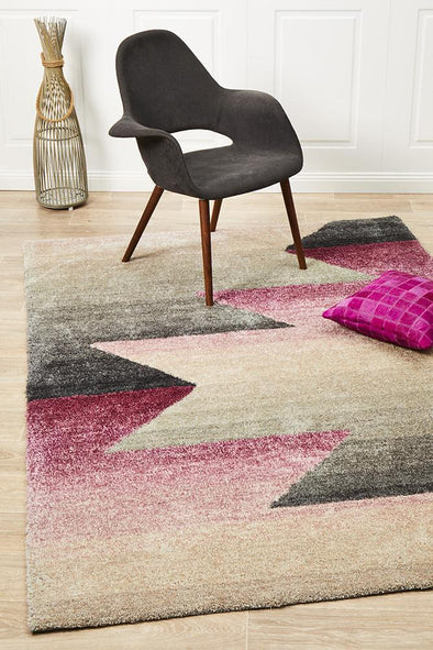 Prism Penny Pink Grey Textured Multi Coloured Rug