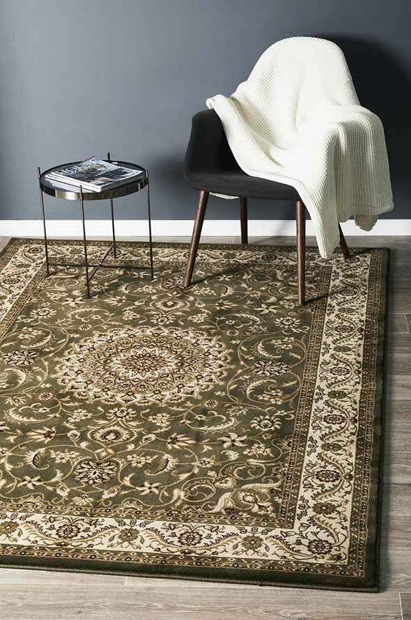 Sydney Collection Medallion Rug Green With Ivory Border