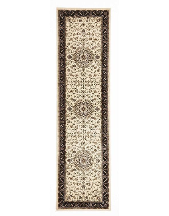 Sydney Collection Medallion Rug Ivory With Black Border