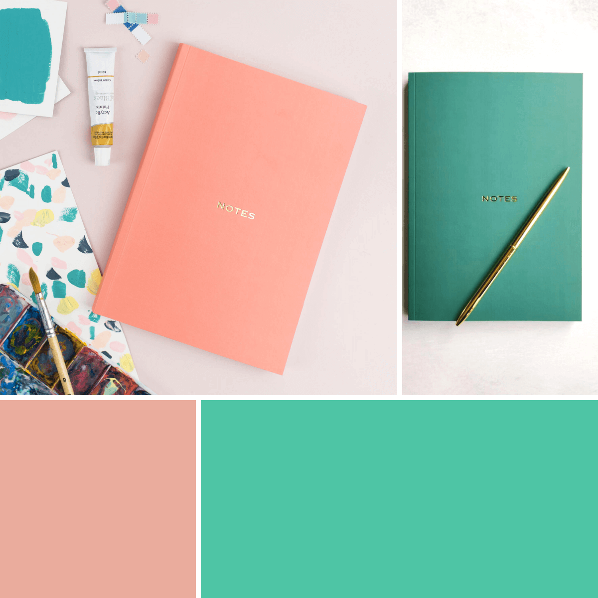Coral and Emerald Green Notebooks