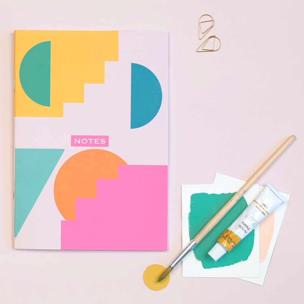 Geometric Shapes Lined A5 Notebook - The Design Palette