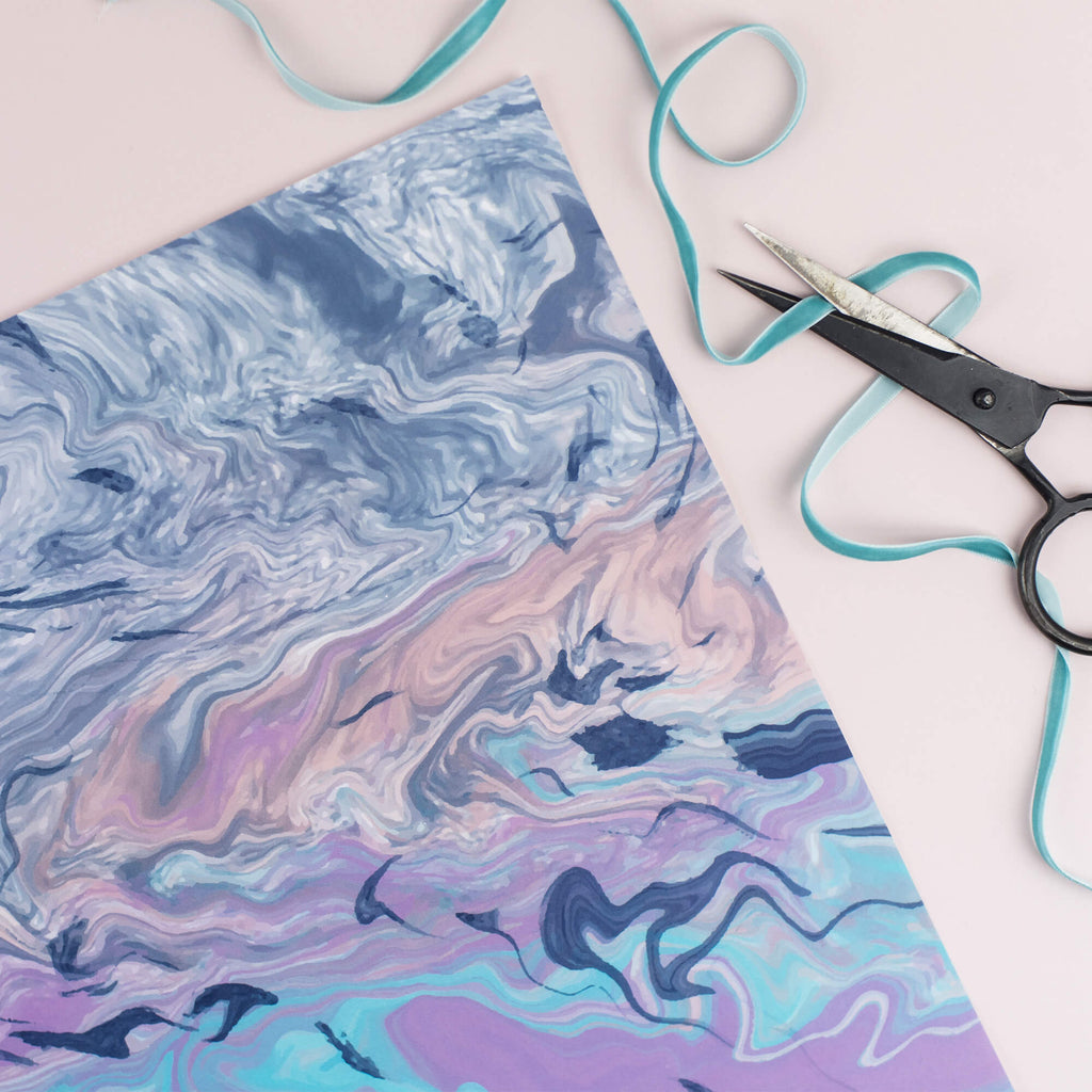 Blue & Purple Marble Gift Wrap Set - The Design Palette