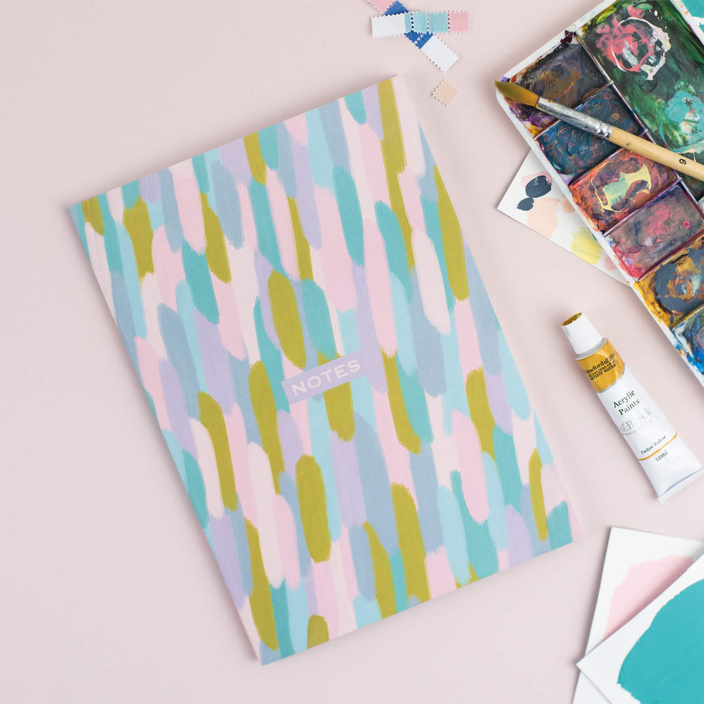 Pretty Brush Strokes A5 Plain Notebook - The Design Palette