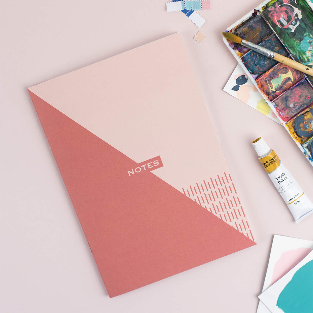 Two-Tone Geometrics Plain Notebook - The Design Palette