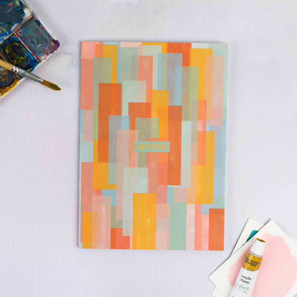 Multi-Coloured Rectangles Dotted A5 Notebook - The Design Palette