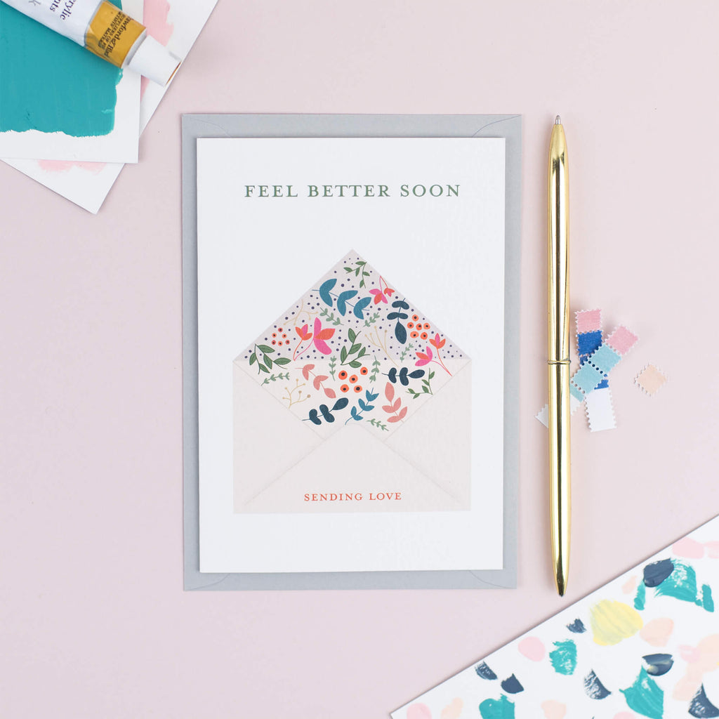 Get Well Soon Floral Card - The Design Palette