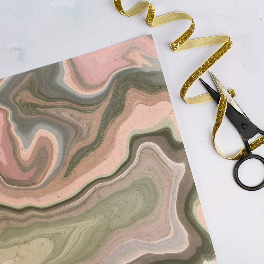 GREEN & PINK MARBLE GIFT WRAP SET - The Design Palette
