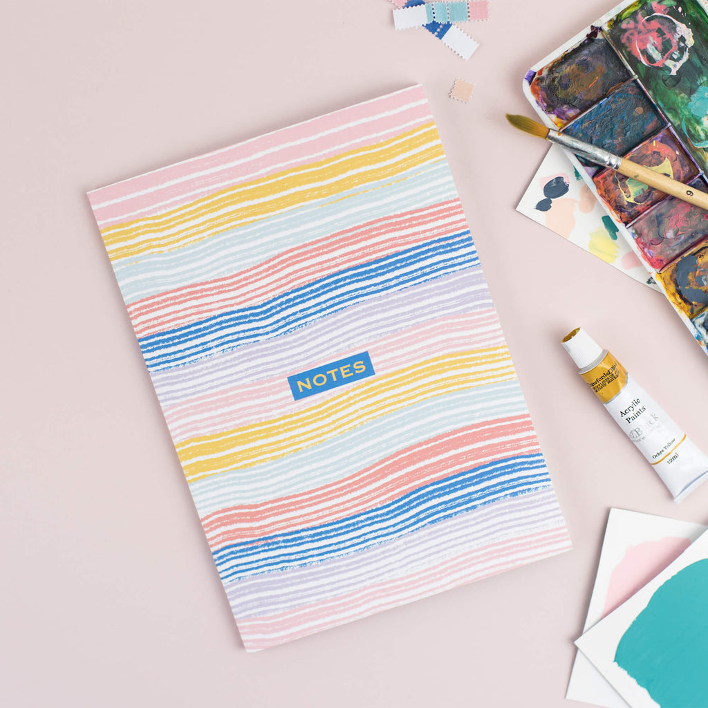 Happy Stripes A5 Plain Notebook - The Design Palette